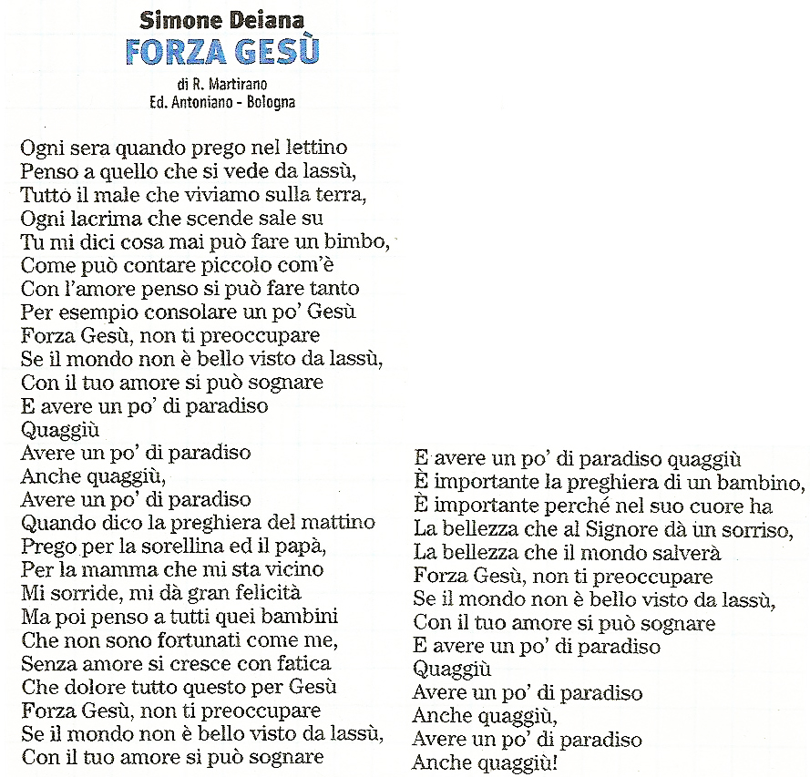 Lo zecchino d 39 oro i testi delle canzoni di forza ges - Lo specchio ti riflette testo ...