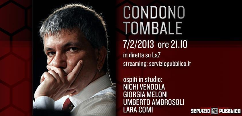 Servizio Pubblico, puntata di stasera, 7 febbraio: Nichi Vendola, Ambrosoli, Meloni e Lara Comi gli ospiti di Santoro
