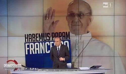 Ascolti Tv, 13 marzo 2013: Speciale Porta a Porta sull'elezione di Papa Francesco a 5 mln; Il discorso del re a 3,6 mln