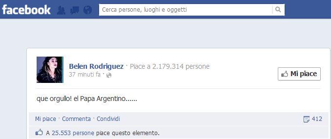 """Eletto Papa Francesco, primo pontefice Sudamericano; Belen Rodriguez su Facebook: """"Que orgullo! El Papa Argentino"""""""