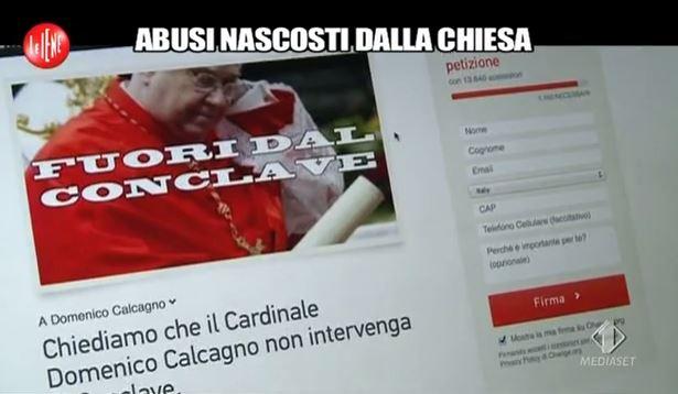 Le Iene, i casi di pedofilia nella Chiesa, petizione online: il Cardinale Calcagno fuori dal Conclave – VIDEO