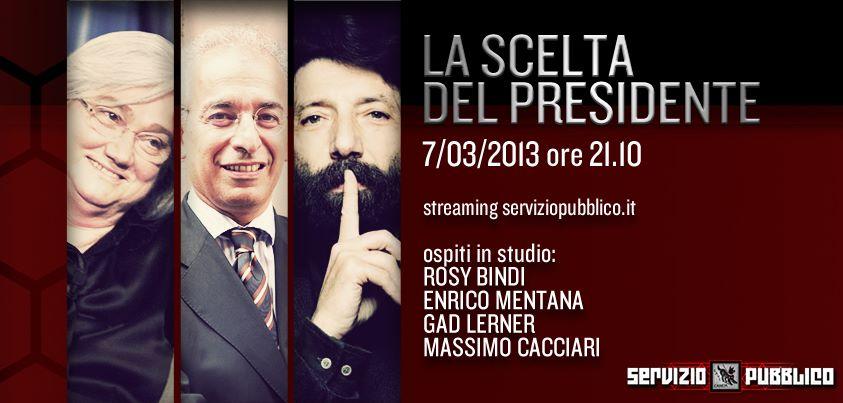 """Servizio Pubblico, puntata di stasera 7 marzo: """"La scelta del Presidente"""" con Rosy Bindi, Mentana, Gad Lerner e Cacciari"""