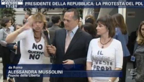 """Elezione Presidente della Repubblica, a Pomeriggio Cinque la protesta di Alessandra Mussolini: """"Il diavolo veste Prodi"""""""