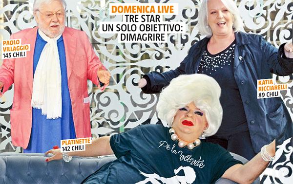 Domenica Live: Barbara D'Urso dal 7 aprile mette a dieta Platinette, Paolo Villaggio e Katia Ricciarelli