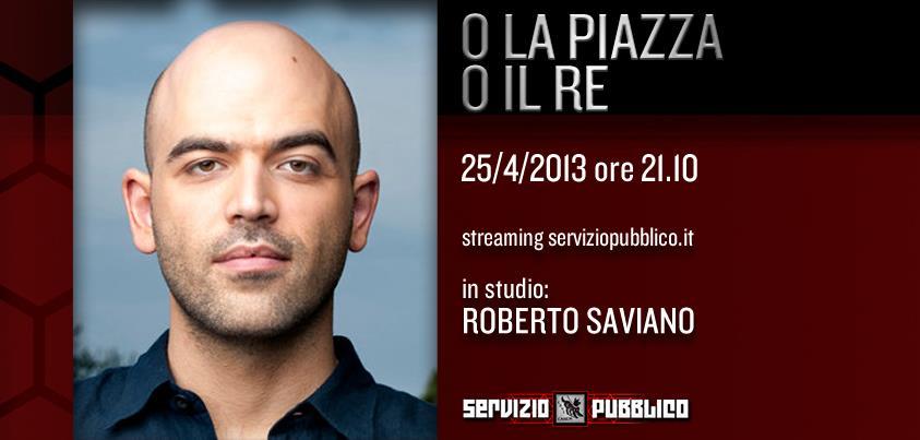 Servizio Pubblico, puntata di stasera 25 aprile: Roberto Saviano ospite speciale
