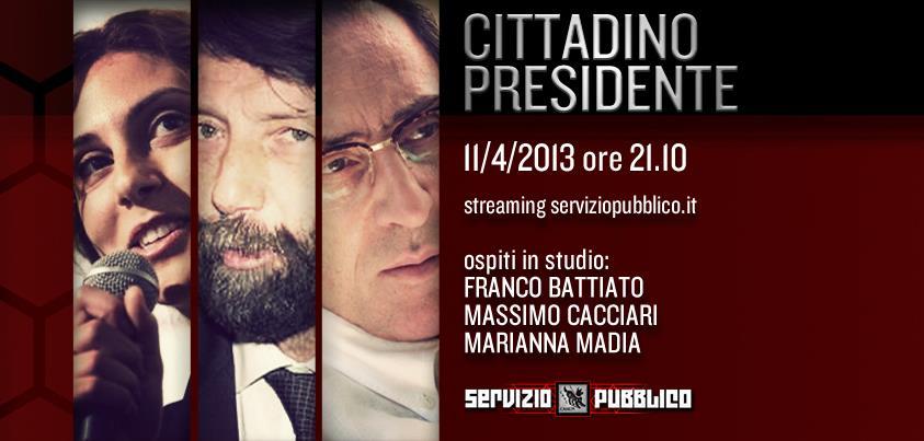 """Servizio Pubblico, puntata di stasera 11 aprile """"Cittadino Presidente"""": Franco Battiato, Cacciari e Madia ospiti"""