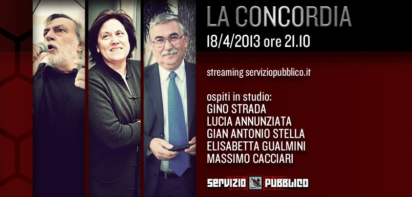 Servizio Pubblico, puntata di stasera 18 aprile: Gino Strada, Lucia Annunziata, Gian Antonio Stella, Cacciari tra gli ospiti