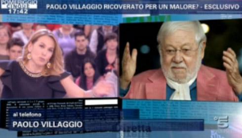 """Paolo Villaggio dopo il malore a Pomeriggio Cinque. """"Qualcuno ha pure detto che è colpa della dieta della D'Urso"""""""