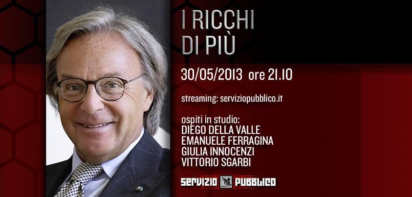Servizio Pubblico, ultima puntata stasera 30 maggio: Diego Della Valle, Emanuele Ferragina, Vittorio Sgarbi ospiti