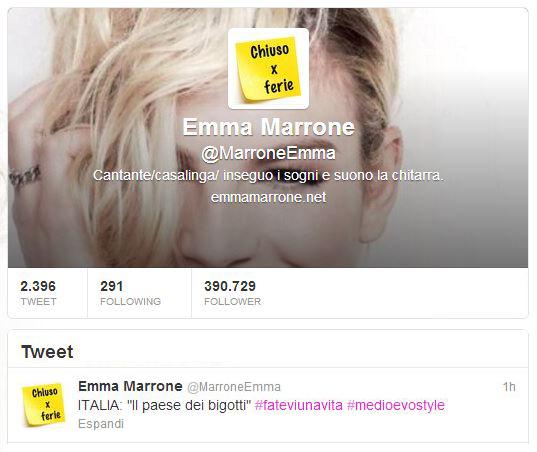 """Emma Marrone smentisce la rottura con Marco Bocci su Twitter: """"Italia, il paese dei bigotti"""""""