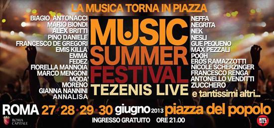 Music Summer Festival: Annalisa nel cast; Loredana Errore in forse, Alessandra Amoroso, Valerio Scanu e Marco Carta assenti