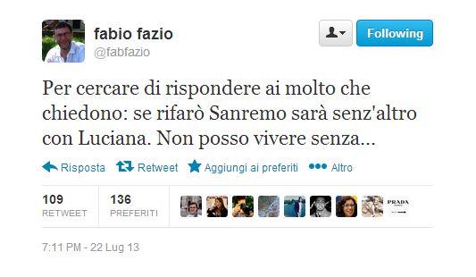 """Festival di Sanremo 2014, Fabio Fazio: """"Se lo rifarò sarà senz'altro con Luciana. Non posso vivere senza"""""""