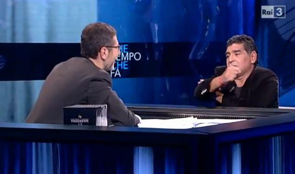 Che tempo che fa, Maradona ed il gesto dell'ombrello a Equitalia fa discutere