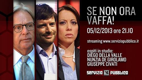 Servizio Pubblico, stasera la nuova puntata: Diego Della Valle, Nunzia De Girolamo e Giuseppe Civati ospiti