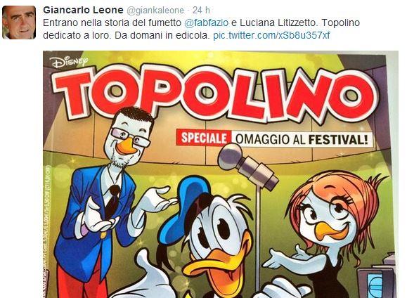 Fabio Fazio e Luciana Littizzetto conquistano la copertina di Topolino, speciale Sanremo 2014 – FOTO