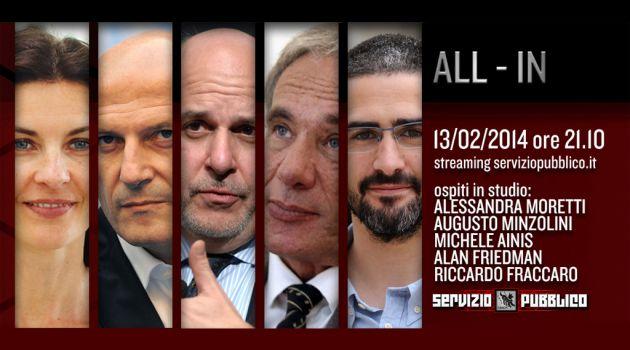 Servizio Pubblico, stasera la nuova puntata: Alessandra Moretti, Augusto Minzolini, Riccardo Fraccaro ospiti