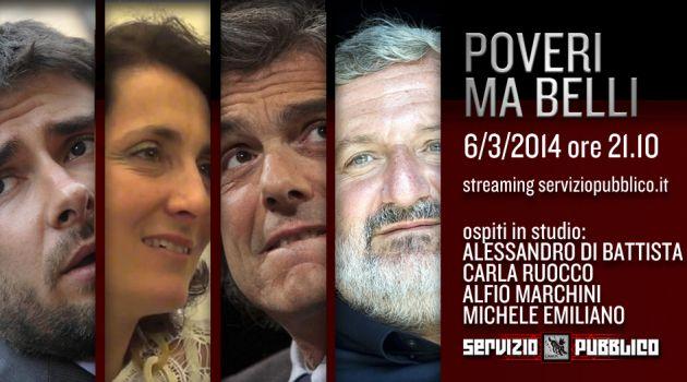 Servizio Pubblico, stasera la nuova puntata: Carla Ruocco e Alessandro Di Battista del Movimento 5 Stelle ospiti
