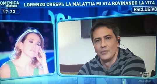 """Lorenzo Crespi a Domenica Live: """"Scrivono che tento il suicidio da tre anni, a Messina non mi farò curare, voglio tornare a Roma"""""""