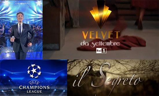 Il valzer dei palinsesti acchiappa ascolti: Velvet anticipata, preceduta da TecheTecheTe' sfida Il Segreto e la Champions