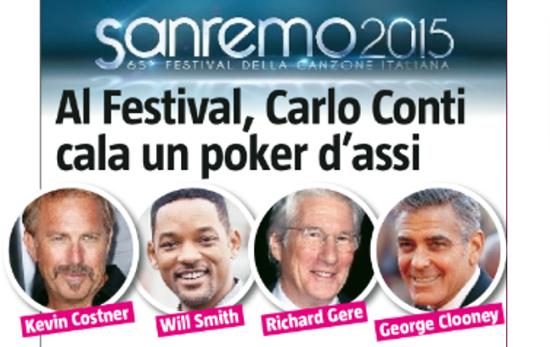Sanremo 2015: ecco i possibili ospiti di Carlo Conti, da Kevin Costner a George Clooney