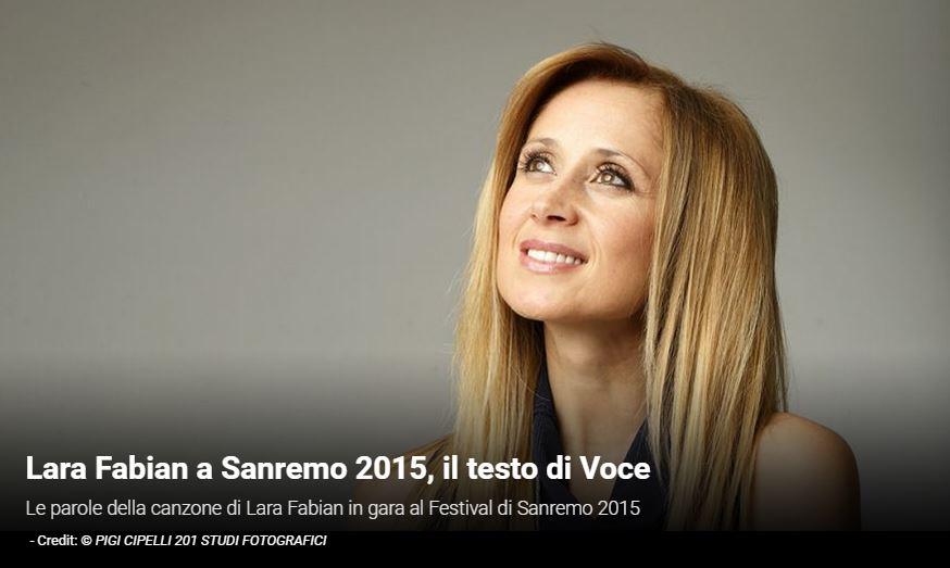 """Festival di Sanremo 2015, i Testi: Lara Fabian con """"Voce"""""""