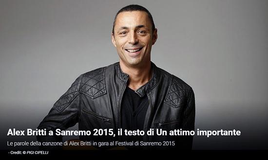 """Festival di Sanremo 2015, i Testi: Alex Britti con """"Un attimo importante"""""""