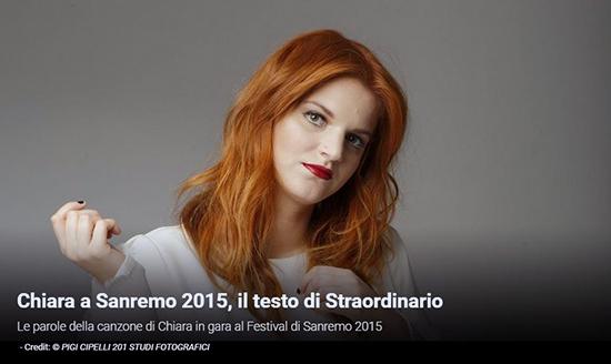 """Festival di Sanremo 2015, i Testi: Chiara con """"Straordinario"""""""