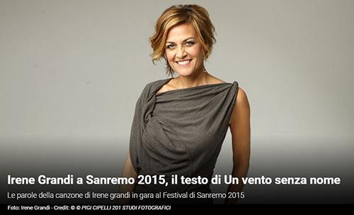 """Festival di Sanremo 2015, i Testi: Irene Grandi con """"Un vento senza nome"""""""