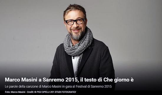 """Festival di Sanremo 2015, i Testi: Marco Masini con """"Che giorno è"""""""