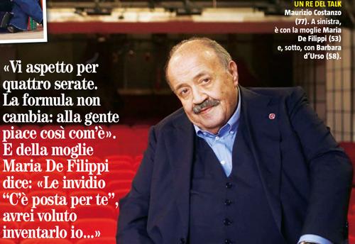 Maurizio Costanzo dal 15 novembre di nuovo su Rete 4: Domenica In, Barbara d'Urso e Maria De Filippi, le dichiarazioni