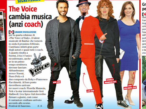 Anticipazioni The Voice Of Italy 4: J-Ax, Nek, Fiorella Mannoia e Geri Halliwell vocal coach?