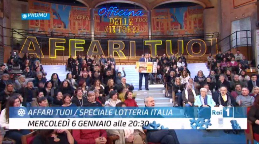 Ascolti Tv, 6 gennaio 2016: Affari Tuoi – Speciale Lotteria Italia a 5,4 mln; Senza Identità 2 a 2,4 mln