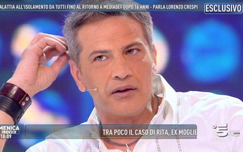 Lorenzo Crespi a Domenica Live dopo 16 anni di assenza in uno studio Tv