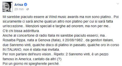 """Arisa polemica, nessun invito ai Wind Music Awards, concerto di Radio Italia e Eurovision: """"Come Mimì non mi ci fanno finire"""""""