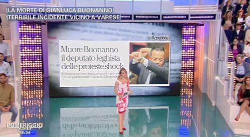 Pomeriggio 5: Barbara d'Urso ricorda Gianluca Buonanno morto in un incidente stradale, il video