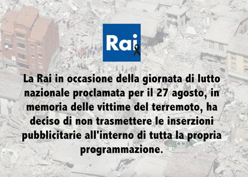Terremoto, Lutto Nazionale: Mediaset, variazioni palinsesto; la Rai sospende la pubblicità in memoria, oggi 27 agosto 2016