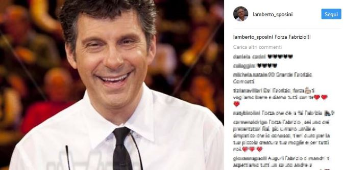 """Lamberto Sposini: """"Forza Fabrizio!"""", augurio social dopo il malore di Frizzi"""