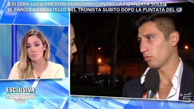 """Malore per il fratello di Luca Onestini dopo l'incontro: """"Era importante che lui sapesse tutto su Soleil"""""""