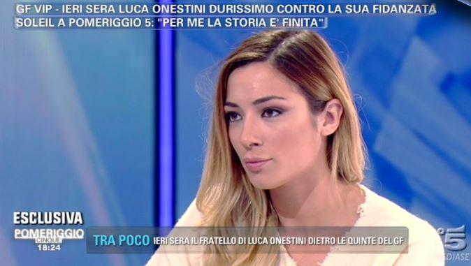 """Soleil Sorge choc a Pomeriggio 5: """"Non sono più innamorata di Luca Onestini"""""""