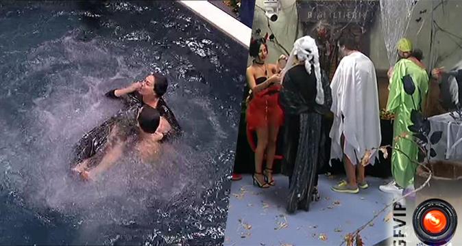Grande Fratello Vip, Halloween in Casa: Corinne in piscina nuda, Cecilia 'picchia' Cristiano