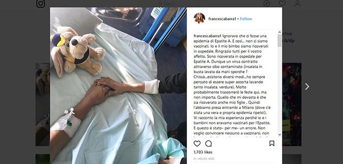 Francesca Barra ricoverata con il figlio per l'Epatite A: Natale in ospedale con Claudio Santamaria
