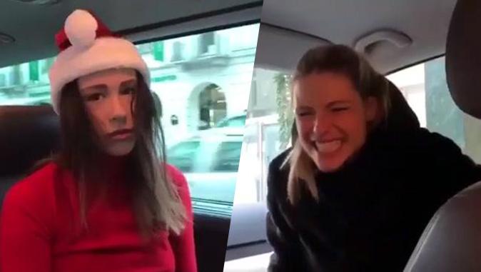 Michelle Hunziker e Aurora Ramazzotti, Video: la gag di Natale diventa virale, la figlia fugge via