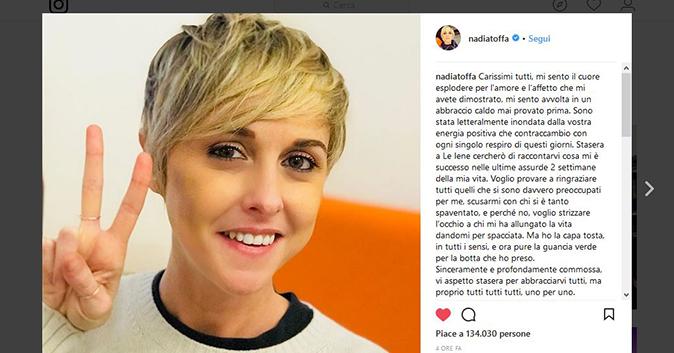 Nadia Toffa dopo il malore, stasera Le Iene propone la sua intervista: il messaggio social