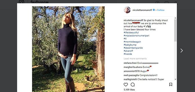 Gossip, Nicoletta Romanoff annuncia il quarto figlio: ecco tutte le gravidanze vip del 2018