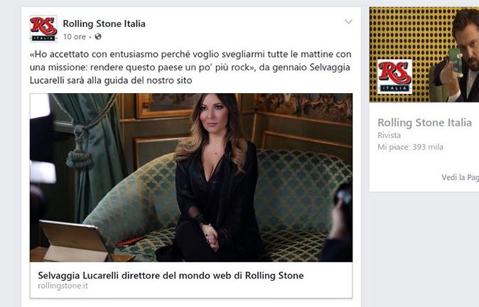 Selvaggia Lucarelli direttore di Rolling Stone Italia
