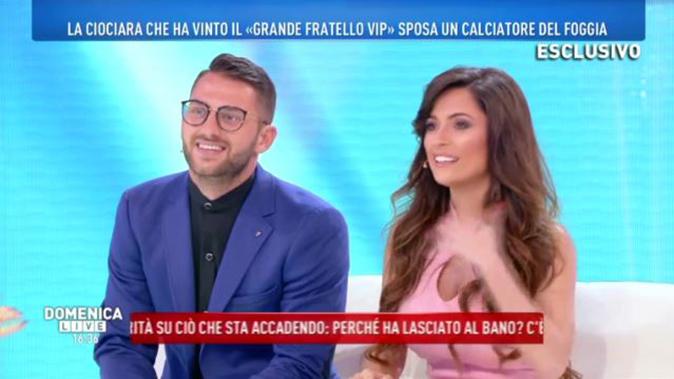 """Alessia Macari e il fidanzato a Domenica Live: """"Quando mi ha chiesto di sposarlo non ho capito niente…"""" (Video)"""