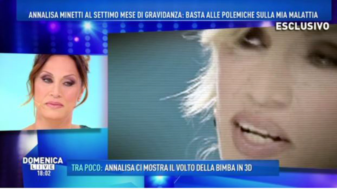 """Annalisa Minetti a Domenica Live: """"vede"""" la figlia Elena grazie all'ecografia 3D, il regalo del marito"""
