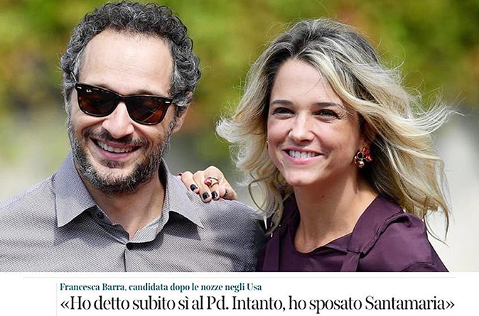 Francesca Barra e Claudio Santamaria si sono sposati in 'segreto': le elezioni e il sogno di un figlio