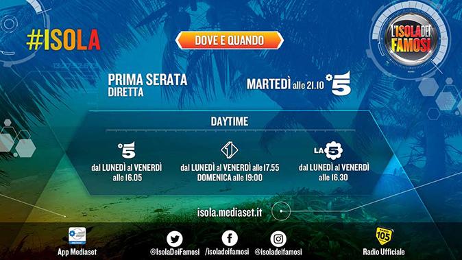 Isola dei Famosi 2018, ecco quando va in onda in TV e streaming: orari daytime e app Mediaset