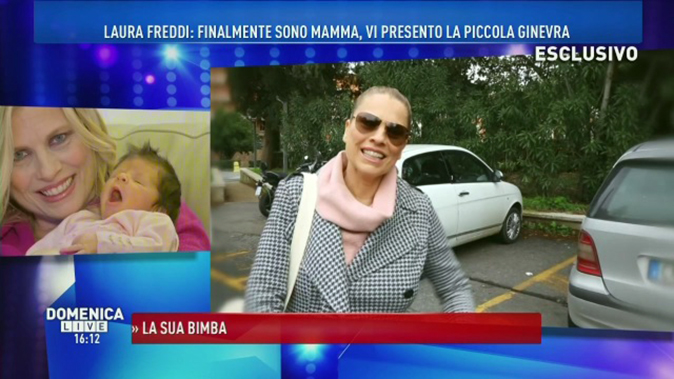 Laura Freddi a Domenica Live presenta Ginevra: la commozione per la sorpresa della madre
